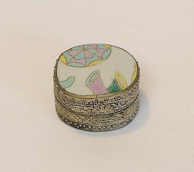 Vintage Chinese Porcelain Shard Trinket / Jewelry / Ring Box.. Pastel Colors