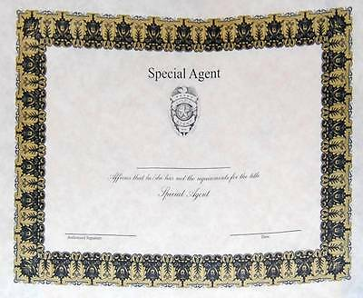 Special Agent Badge Wall Certificate