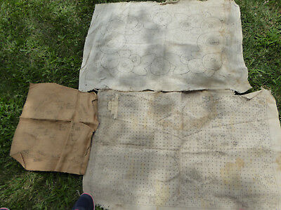 LOT of 3 VINTAGE / ANTIQUE CLOTH PATTERNS NEEDLEPOINT TAPESTRY - tap9