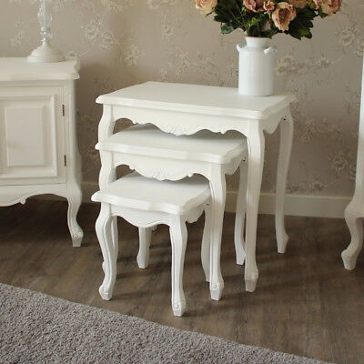 White wooden nest of tables shabby ornate chic French living room furniture