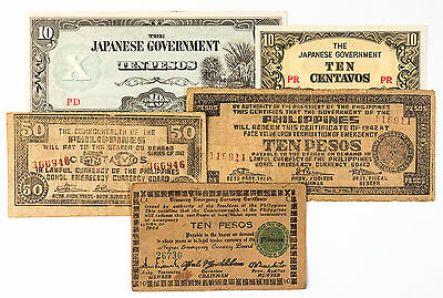 5 diff. Philippines guerrilla and 1940's Japanese invasion paper money WW2