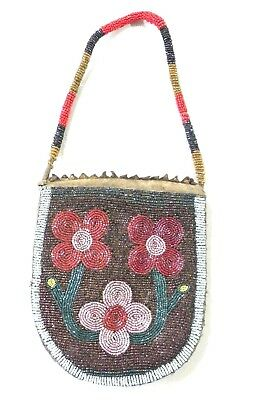 Stunning Antique  Native American Beaded Bag / Tobacco Pouch