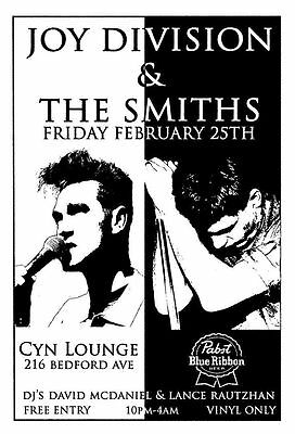 The Smiths / Joy Division tour  poster print A4 Size