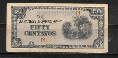 PHILIPPINES #105a 1942 VG CIRC 50 CENTAVOS BANKNOTE PAPER MONEY NOTE CURRENCY