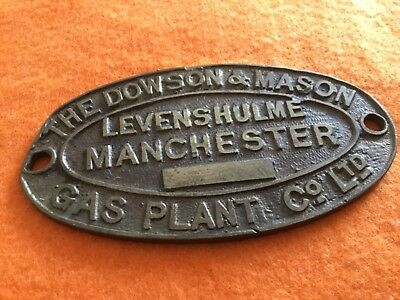 BRASS PLAQUE DOWSON & MASON LEVENSHULME MANCHESTER GAS Co Ltd approx 3.6ins wide