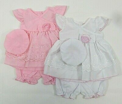 Baby Girls Summer Dress Bloomers Hat Broderie Anglais Frilly Pants Bow 96 61