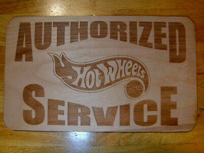 Authorized Service Hot Wheels Wood Sign Collector - deco Man Cave Redline
