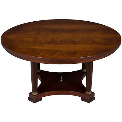 Antique Style Mahogany Large Round Coffee Table Elegant Unique w Brass Accents