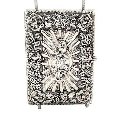 Antique Victorian Sterling Silver Card Case / Aide Memoire - 1895