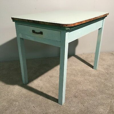 Vintage Retro Solid Pine Formica Kitchen Dining Table Drawer Storage