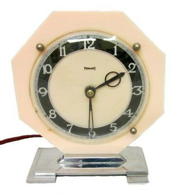 RARE VINTAGE 1930s ART DECO FERRANTI ELECTRIC CLOCK PEACH BAKELITE & CHROME BASE