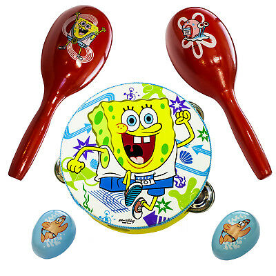 Spongebob Small Percussion Set With Wooden Tambourine Maracas Egg Shakers