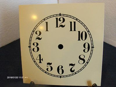 """NOS Painted Steel Dial,6 1/2""""Sq.,5"""" Chapter Ring Off-White,Arabic Black Numerals"""