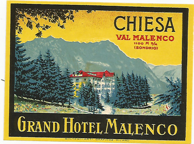 GRAND HOTEL luggage DECO label (CHIESA)
