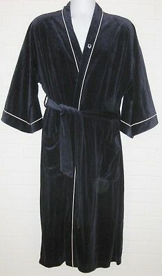 VTG Christian Dior MONSIEUR Velvet Velour ROBE MENS HUGH HEFNER NAVY WHITE PIPE