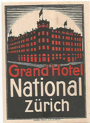 GRAND HOTEL NATIONAL luggage DECO label (ZURICH)