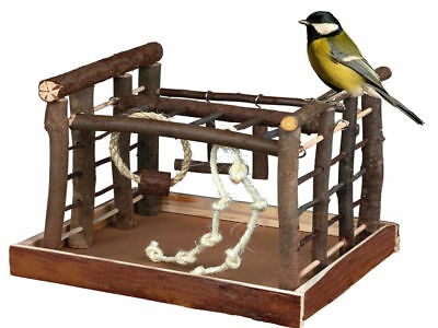 Natural Wooden Bird Playground Budgie Canary Ladder Ropes Swing Perch Play Toy
