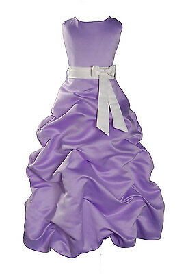 Lilac Flower Girl Dress Party Bridesmaid Dress 1-13 Year Sash in 10 Colour
