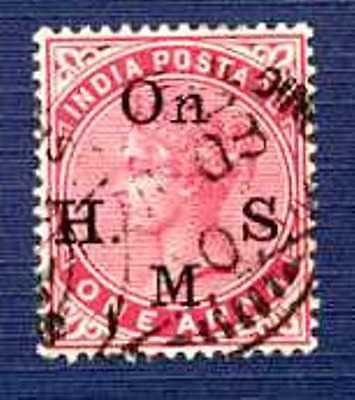 "INDIA 1900 Sc#O35 A19 ""OnHMS"" Overprint on One Anna-USED"