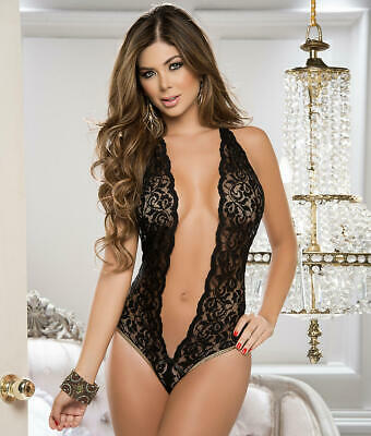 Mapale Deep V Wireless Halter Teddy Lingerie - Women's