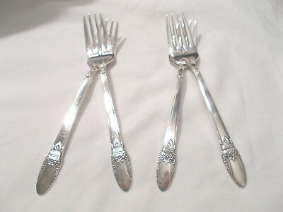 4 First Love Salad/dessert Forks-Classic 1937 Rogers-Clean & Table Ready