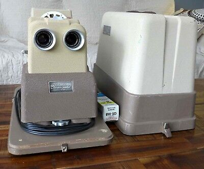 """View-Master Stereomatic 500 Projector 3D - 2 1/4"""" lenses - SERVICED by DrT - RF"""