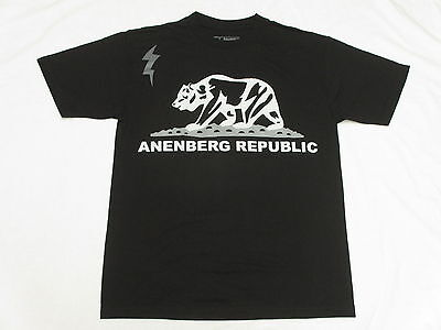 NEW Mens Anenberg T-Shirt Republic Tee Black Urban Print *Made In USA* Sz M M515