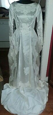 Bridallure Inc. Union Made Tag Wedding Gown Vintage Satin 100% Acetate