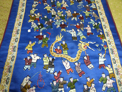 vintage CHINESE silk embroidery, Celebration, Golden Dragon