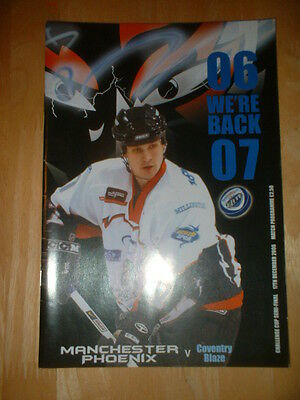 2006/7 Manchester Phoenix V Coventry Blaze Ice Hockey Cup Semi-Final & Ticket