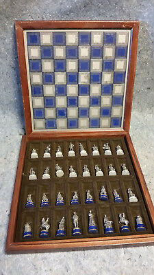 Pewter Civil War Chess Set With Board (Franklin Mint?)