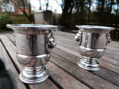 Lovely Pair Of Vintage Silver Plate Lion Head Salts By Viners Of Sheffield.