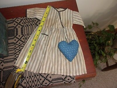 Sweet Vintage doll dress with calico heart Early Blue