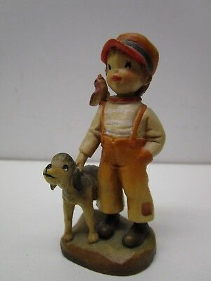 "Anri Ferrandiz Boy W/ Dog And Bird 3"" Figurine - Made In Italy"