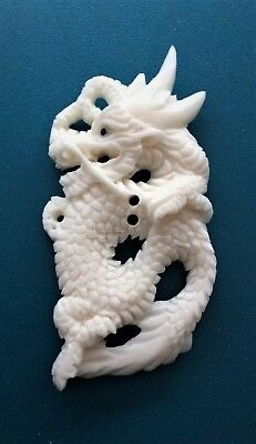 Vintage Hand Carved Bone Fabulous Animal, Dragon Button