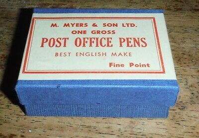 Unopened box 144 vintage fine point Post office dip pen nibs Myers & Son England