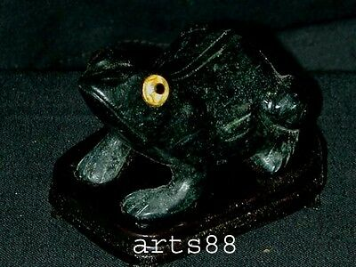 BLACK JADE CARVED FROG  Symbol Wealthy and Good Luck