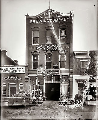 "1919 Photo, PABST BREWING CO. Munger Motor, Post office, Bicycle Shop, 16""x11"""