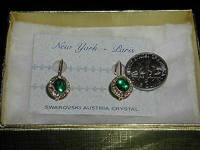 Emerald Green Drop Earrings Austrian Crystal Christmas Or St Patrick' Day !