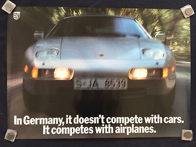 Porsche Official 928 S4 / Gt 'competes With Airplanes' Showroom Poster 1989 Usa