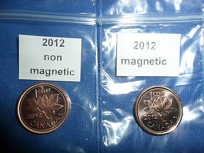 2012 Canadian Penny 1 Magnetic &1 non magnetic (NNHF)(LAST YEAR)