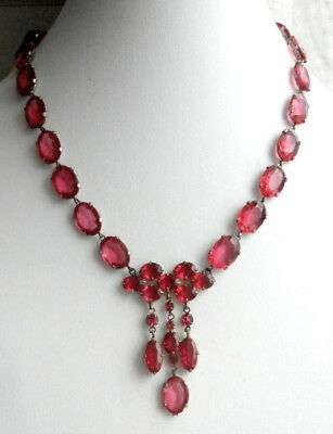 Art Deco Pink Glass Stones Pendant Dangles Vintage NECKLACE