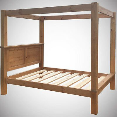 5ft King Size Four Poster Bed Frame Solid Pine Wood HIDDEN FITTINGS Chunky Panel
