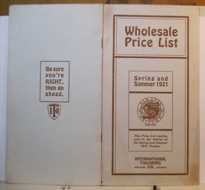 1921 Wholesal International Tailoring Co. NY Chicago Price List Belts Suits Coat