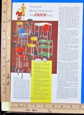 1950 COSCO colorful steel kitchen furniture MERRY CHRISTMAS Vtg Print Ad 9072