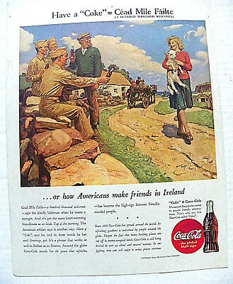"1944,jan.8 Sat. Evening Post ""have A 'coke'=Cead Mile Failte"" Soldier In Ireland"