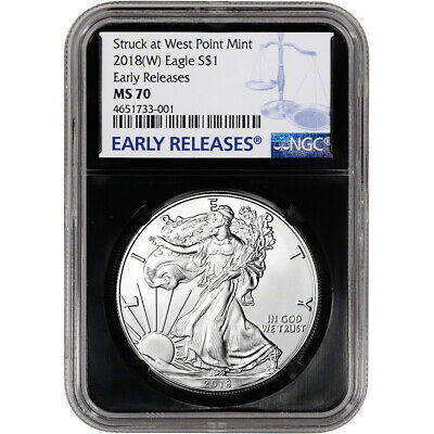 2018-(W) American Silver Eagle - NGC MS70 - Early Releases - Black