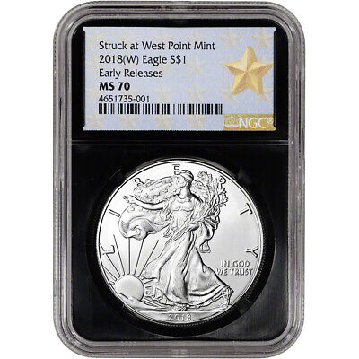 2018-(W) American Silver Eagle - NGC MS70 - Early Releases - Star Label - Black