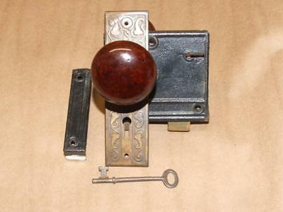 Vintage Antique ESTATE Lock Key & Porcelain Faux Wood Door Knob Set w/ One Plate