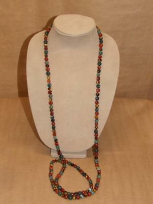 """Vintage SX 925 Multi Colored Gemstone Strand Necklace Sterling Silver Clasp 54"""""""